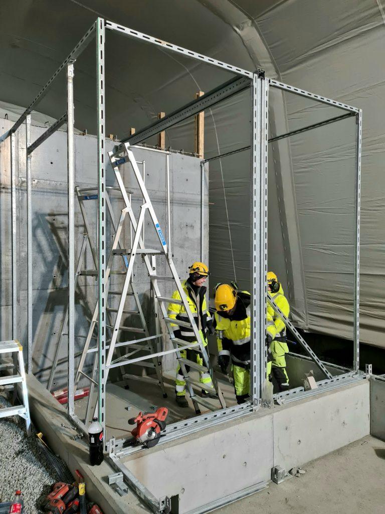 Installasjon av teknisk bygg i tunnel
