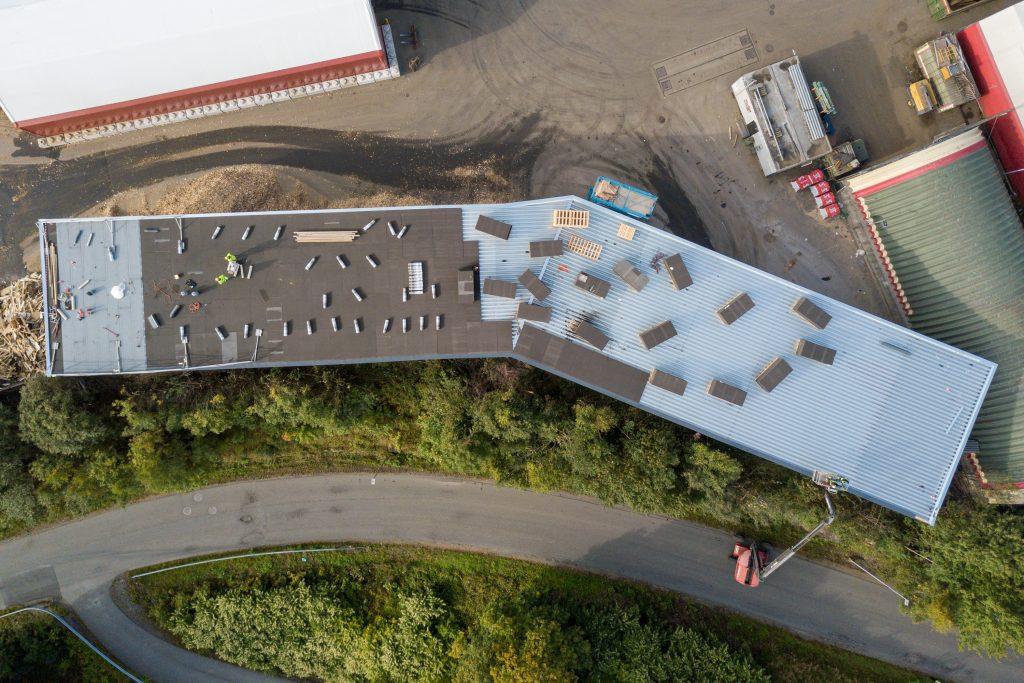 Celleglassplater på tak